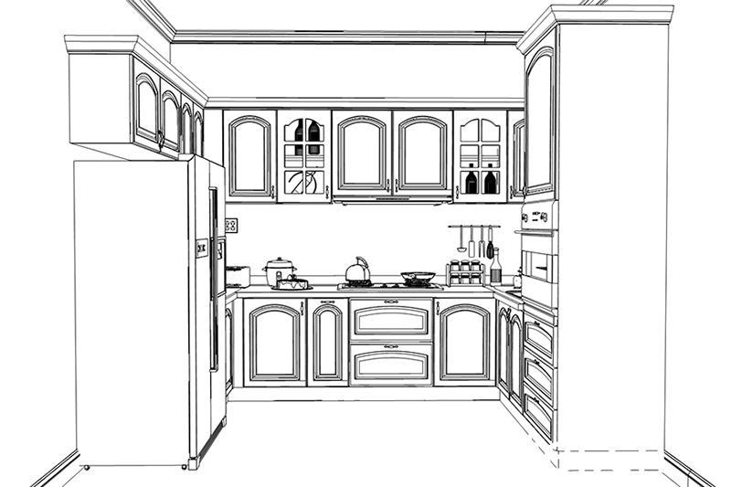 u型 > 简欧田园风格u形整体橱柜   厨房定制橱柜田园欧式