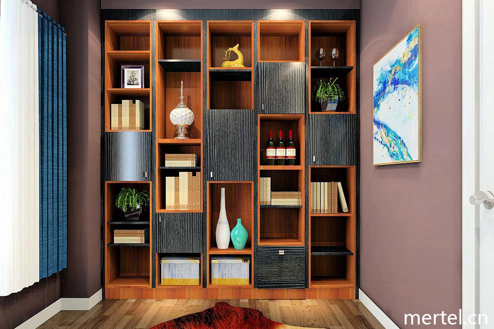 书房书柜现代简约                           在凹柱的一侧设计书墙