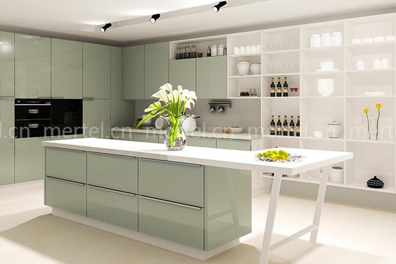 开放式厨房现代感十足,岛台的造型独特,体现了设计
