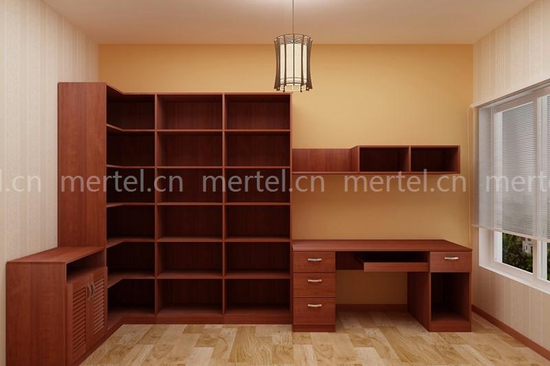 l型柜体书柜搭配同色同风格书桌和矮柜,十分协调.图片