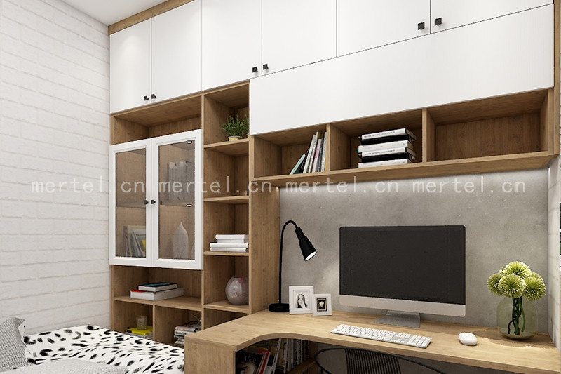 这是一款极简原木色风格的书桌书柜样式,柜体是原木色的,门板是纯白色的,两者做了跳色处理,整体上色彩不会单一,会有一种亲近大自然的舒适感。